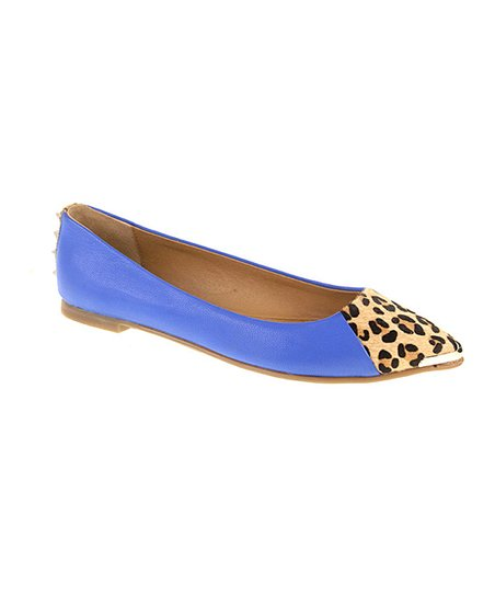 Blue & Leopard Calf-Hair Extra Credit Flat