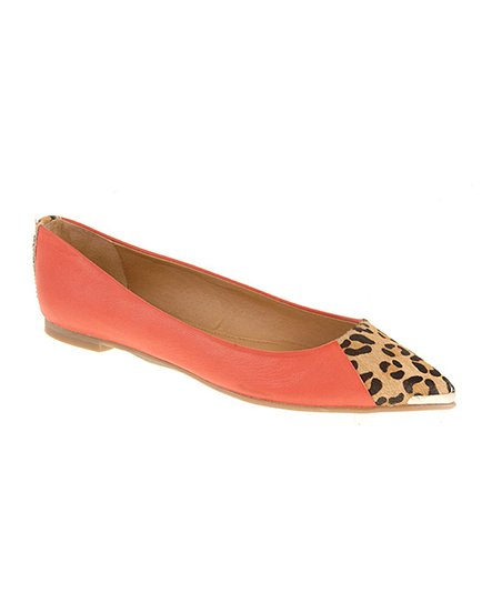 Orange & Leopard Calf-Hair Extra Credit Flat