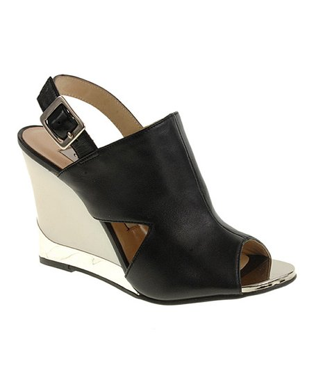 Black Sorriso Cutout Wedge