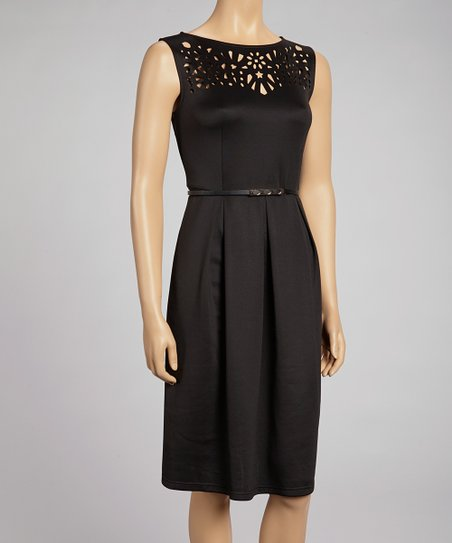 Black Cutout Belted Dress