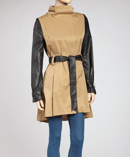 Khaki & Black Vegan Leather Trench Coat - Women