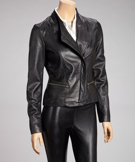 Black Asymmetrical Zipper Leather Jacket