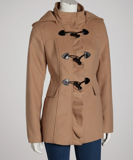 Camel Ruffle Toggle Coat