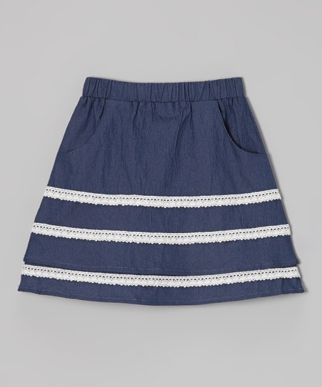 Chambray Lace Stripe Skirt - Toddler & Girls