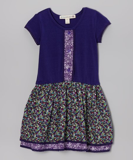 Purple Majesty Ditsy Floral Placket Dress - Toddler & Girls
