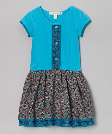 Turquoise & Blue Mosaic Floral Placket Dress - Toddler & Girls
