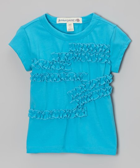 Turquoise Ruffle Tee - Toddler & Girls