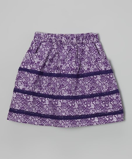 Purple Majesty Floral Lace Stripe Skirt - Toddler & Girls