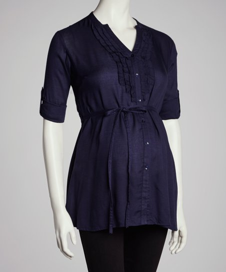 Navy Ruffle-Front Maternity Tunic - Women
