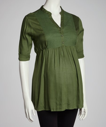 Olive Embroidered Front Maternity Tunic - Women