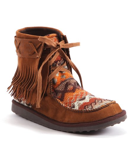 Brown Tanya Fringe Moccasin Boot - Women