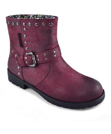 Burgundy Bailee Buckle Boot - Women