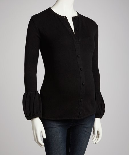 Black Lantern-Sleeve Maternity Cardigan