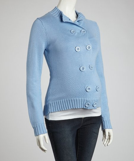 Light Blue Double-Button Maternity Sweater