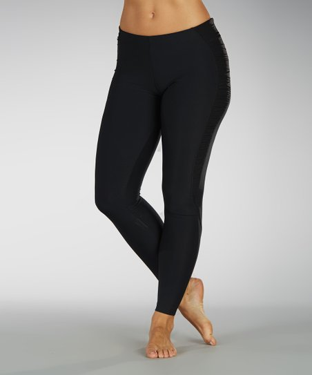 Black Ruched-Side Leggings
