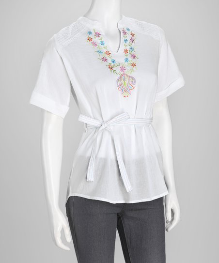 White Embroidered Tunic - Women