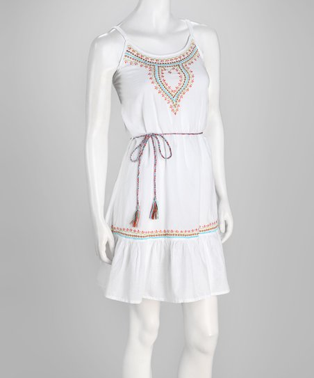 White Ruffle Dress - Women