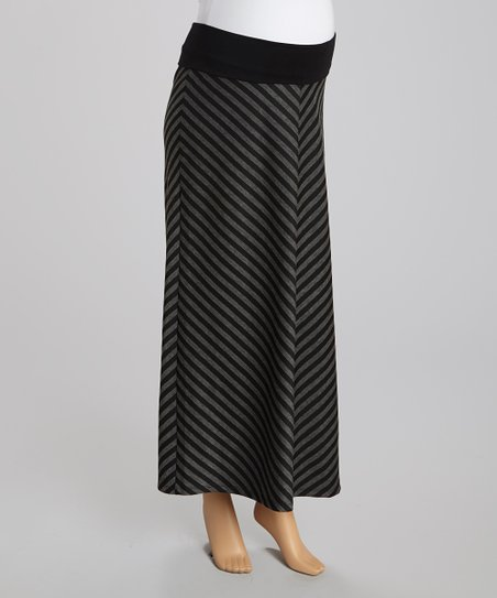 Black & Charcoal Chevron Maternity Maxi Skirt - Women