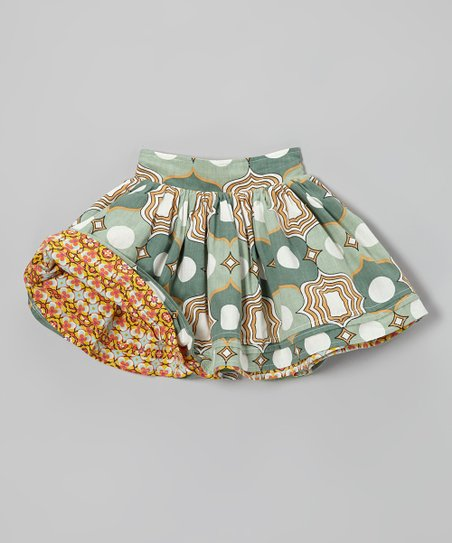 Green & Yellow Reversible Circle Skirt - Infant, Toddler & Girls