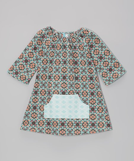 Green & Blue Geometric Peasant Dress - Infant, Toddler & Girls