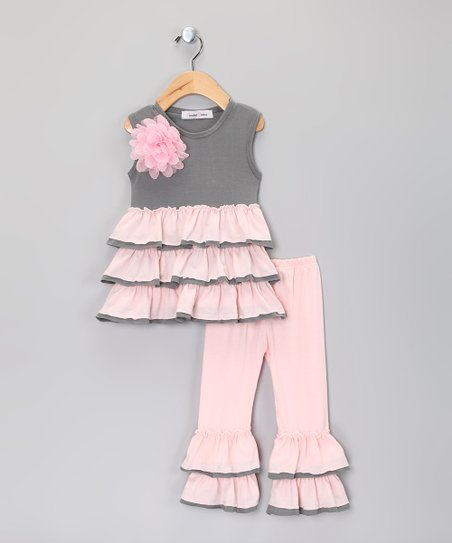 Gray & Pink Flower Ruffle Top & Pants - Infant, Toddler & Girls