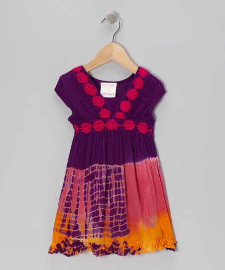 Purple Tie-Dye Flower Dress - Toddler & Girls
