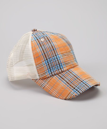 Orange & Blue Plaid Trucker Hat
