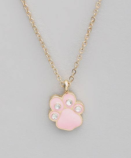 Pink Dog Paw Pendant Necklace