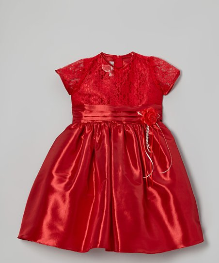 Red Lace Dress - Toddler & Girls