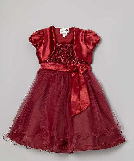 Burgundy Floral Ruffle Dress & Shrug - Toddler & Girls