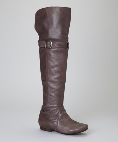 Gray Leather Vogue Over-the-Knee Boot