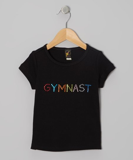 Black 'Gymnast' Rainbow Rhinestone Tee – Girls & Women