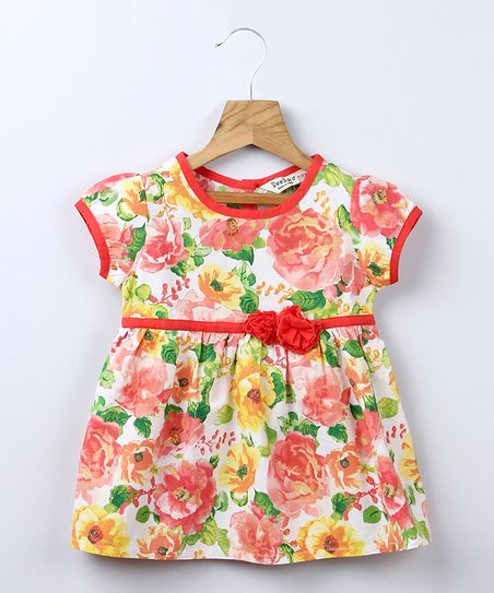 Orange Rose Dress - Infant, Toddler & Girls
