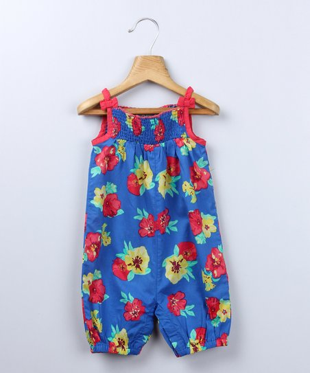 Navy Floral Romper - Infant, Toddler & Girls