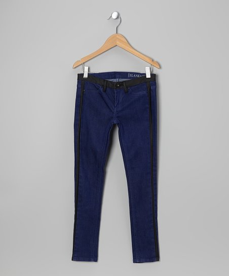Yves Blue Faux Leather Tuxedo Stripe Skinny Jeans - Girls