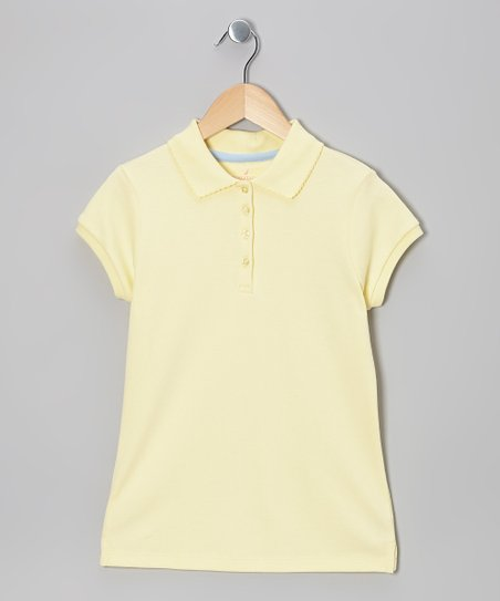 Light Yellow Short-Sleeve Polo - Girls