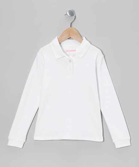 White Long-Sleeve Polo - Girls