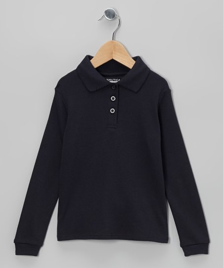 Navy Long-Sleeve Polo - Girls