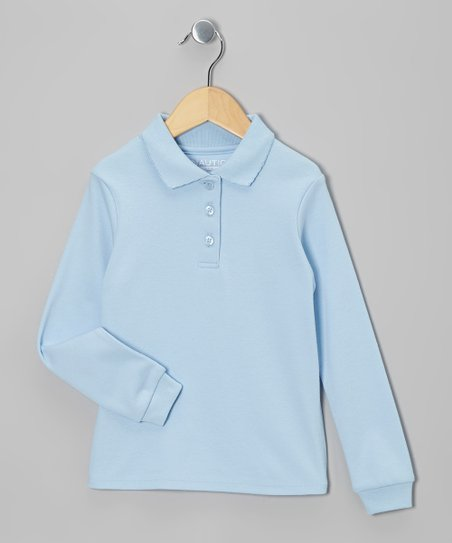 Light Blue Long-Sleeve Polo - Girls