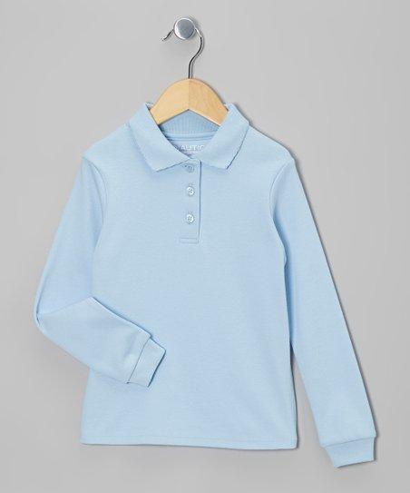 Light Blue Long-Sleeve Polo - Girls