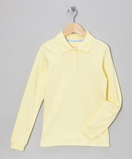 Light Yellow Long-Sleeve Polo - Girls