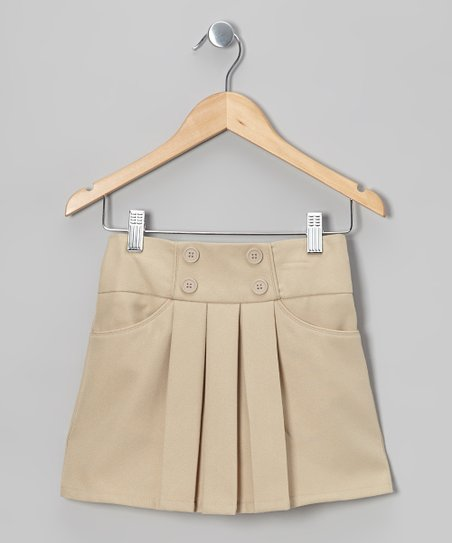 Khaki Front-Pleat Skort - Girls