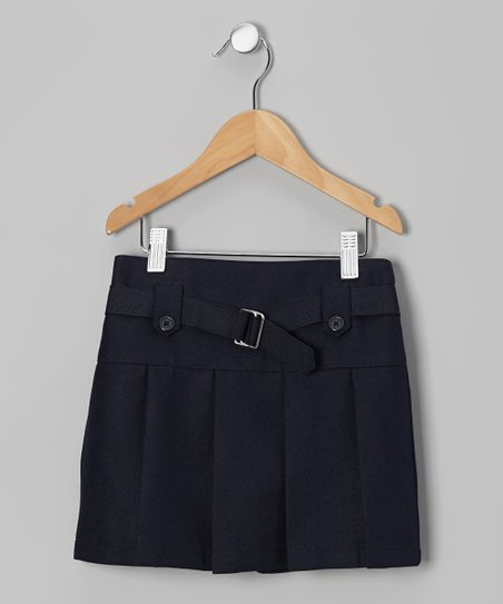 Navy Belted Tab Scooter Skirt - Girls