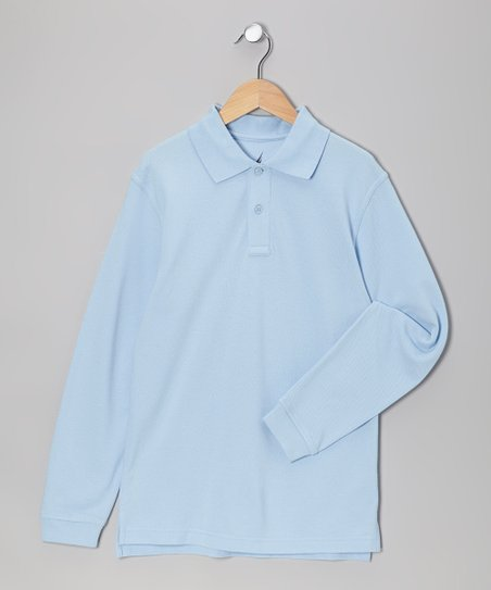 Light Blue Uniform Long-Sleeve Polo - Boys