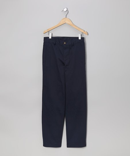 Navy Flat-Front Pants - Boys
