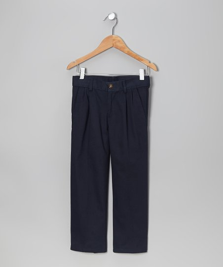 Navy Pleated Pants - Boys