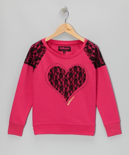 Pink Heart Raglan Top - Girls