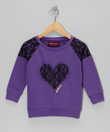 Purple Heart Raglan Top - Girls