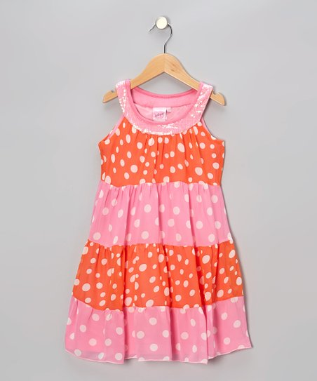 Pink & Orange Polka Dot Yoke Dress