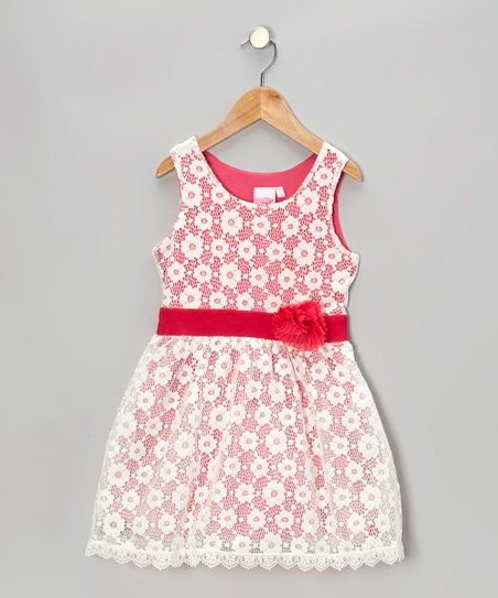 White & Pink Lace Dress - Toddler